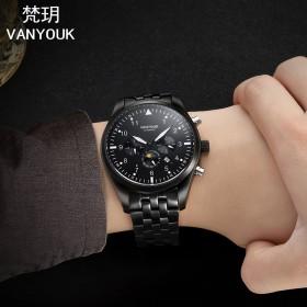 梵玥正品手表男机械表男表男士手表防水时尚潮流手表夜