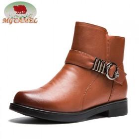 MG CAMEL真皮加绒女棉鞋短筒雪地靴圆头套筒