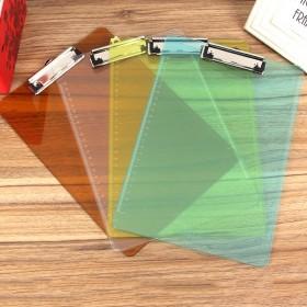 板夹A4文件夹 办公用品书写板夹PP透明塑料带刻度