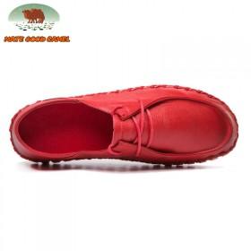MG CAMEL真皮系带女鞋软面软底休闲孕妇鞋子