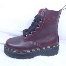 MG CAMEL真皮女马丁靴圆头系带个性短靴雪地靴
