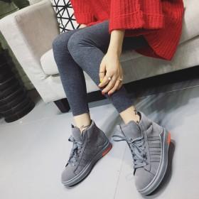 秋冬韩版松糕厚底真皮女学生跑步运动鞋内增高加绒系带