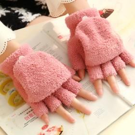 手套女士秋冬季韩版学生触屏手套可爱卡通加绒加厚保暖