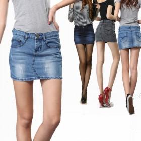 四季牛仔大码短裙半身裙包臀裙
