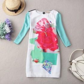 外贸原单时尚撞色七分袖雪纺连衣裙