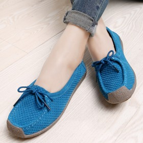 MG CAMEL真皮低帮圆头浅口豆豆鞋平底女单鞋