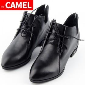 MG CAMEL真皮尖头高帮系带休闲女鞋低跟单鞋