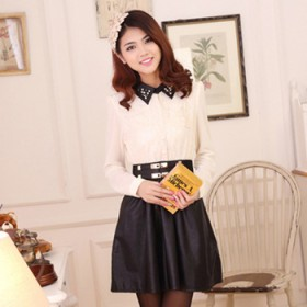 雪纺PU拼接长袖连衣裙大摆裙时尚气质修身显瘦皮裙