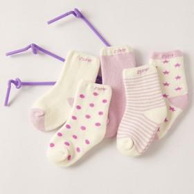 儿童加厚毛圈袜秋冬季节款纯棉男女宝宝袜子 五双装