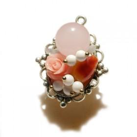 【一款两戴】原创粉晶玫瑰花项链胸针