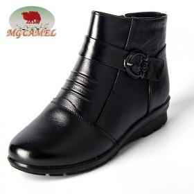 MG CAMEL冬季加绒保暖中老年妈妈短筒平底棉靴