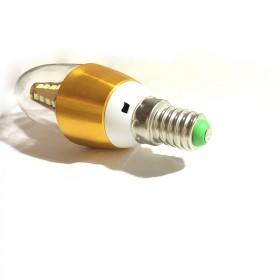 led蜡烛灯泡5w2.65元e14银色尖泡暖光1个