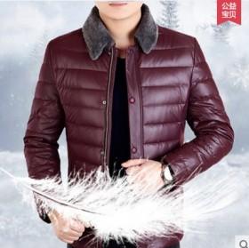 品牌冬装休闲商务立领白鸭绒中年男士羽绒服男棉服男