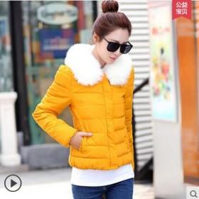 棉衣女短款冬装棉服外套韩版加厚大毛领修身棉袄女装