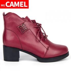 MG CAMEL真皮冬季加厚保暖女棉鞋短筒高跟靴子