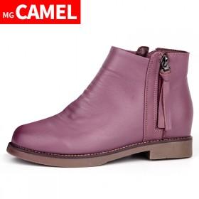 MG CAMEL女靴真皮圆头百搭女鞋平底短筒雪地靴