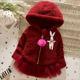 小童女童外套加厚夹棉 毛毛绒棉衣秋冬