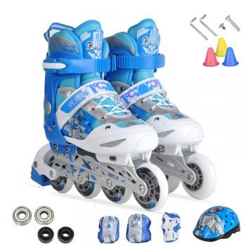 溜冰鞋套装单闪儿童可调溜冰鞋