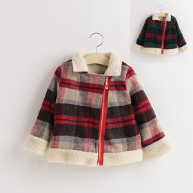 男童女童夹棉毛呢双层毛绒斜拉链短外套加棉加绒大衣