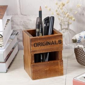 创意木质桌面可爱办公室用品遥控器收纳盒复古实木多功