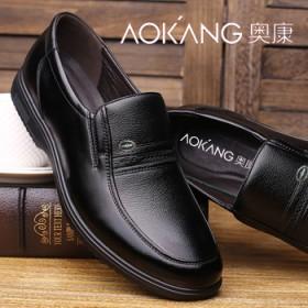 奥康品牌,加绒单鞋,老人低帮棉鞋,软底软面新款皮鞋