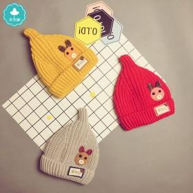 冬季加绒加厚宝宝帽子毛线帽0-2岁儿童奶嘴帽