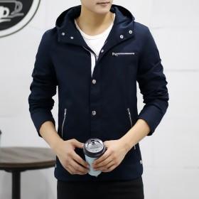 冬季新款夹克男士韩版修身连帽夹克外套