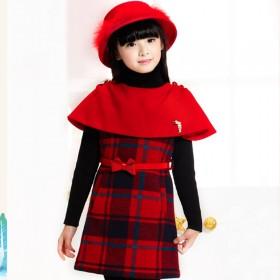 女童2016年新款苏格兰花纹斗篷背心毛呢连衣裙