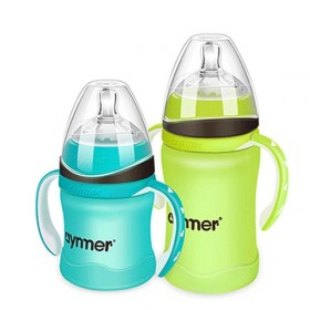 爱因美玻璃奶瓶带硅胶套婴儿宽口径防摔带吸管新生儿