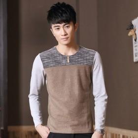 男士长袖T恤 韩版时尚潮流拼接针织T恤衫青年修身T