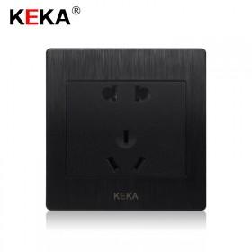 黑色艺术拉丝五孔插座 嵌入式86型二三插5孔开关插