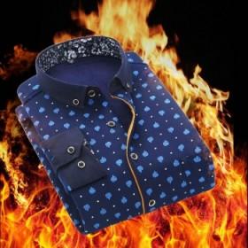 男士保暖格子衬衫男加绒衬衫花纹男加厚长袖磨毛长袖衬