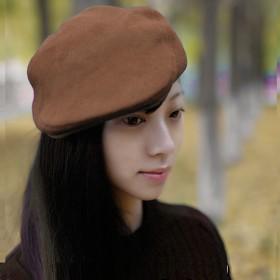 秋冬百搭全棉复古贝雷帽加厚带夹棉保暖层男女通用