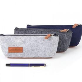 杰利笔袋大容量铅笔袋男女中学生文具袋毛毡布纯色复古