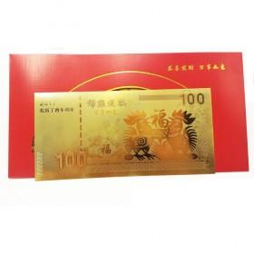 10张金箔金钞-百元-美元-锦鸡金箔金钞