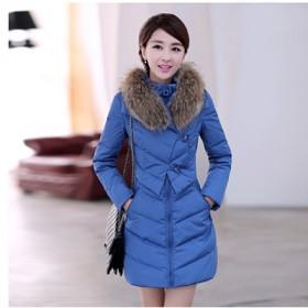 韩版大码加厚羽绒服女中长款修身冬装大毛领