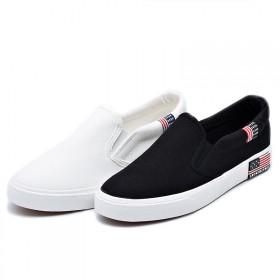 帆布鞋女韩版平底鞋小白鞋百搭透气夏学生一脚蹬休闲鞋