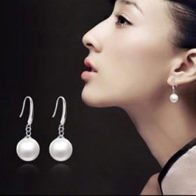 天然珍珠耳环 日韩长款925纯银