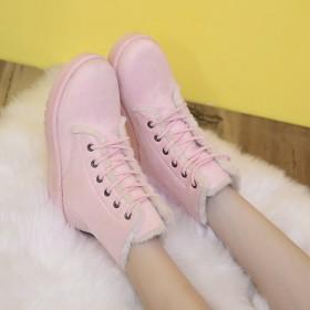 2016冬季韩版雪地靴女短靴短筒圆头系带棉鞋女平底
