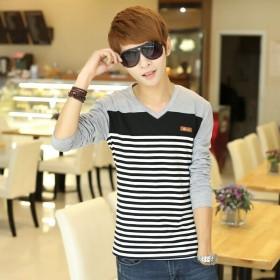 男式长袖T恤 韩版时尚潮流男士长袖纯棉条纹个性男装