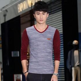 男士长袖T恤 韩版时尚潮流纯色针织T恤衫青年修身