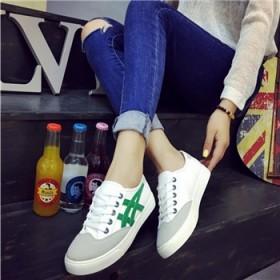 2016秋帆布鞋韩版时尚拼接系带单鞋舒适防滑低帮鞋