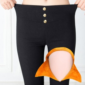 加绒加厚打底裤外穿高腰小脚裤紧身大码长裤保暖女裤