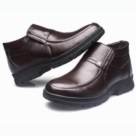 冬季保暖男棉鞋 真皮套口男鞋休闲中老年爸爸棉鞋男