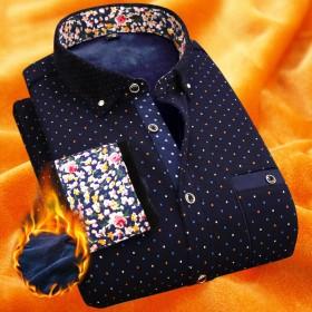 保暖衬衫男 加厚加绒 一体绒 部分领口镶钻个性印花