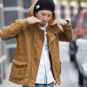 男士连帽夹克全棉修身外套复古军款时尚日系夹克att