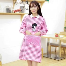 包邮卡通可爱罩衣厨房家务纯棉围裙长袖反穿衣防污渍