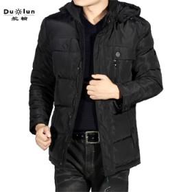 冬季新款男士中长款羽绒服上衣加厚面包服外套
