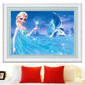 新款5d钻石画卧室卡通动漫贴钻十字绣冰雪奇缘钻石绣