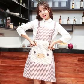 (二件装)卡通可爱居家厨房家务无袖围裙时尚成人罩衣